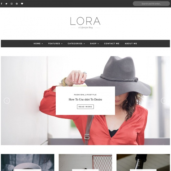 LORA – Clean & Personal WordPress Blog Theme.