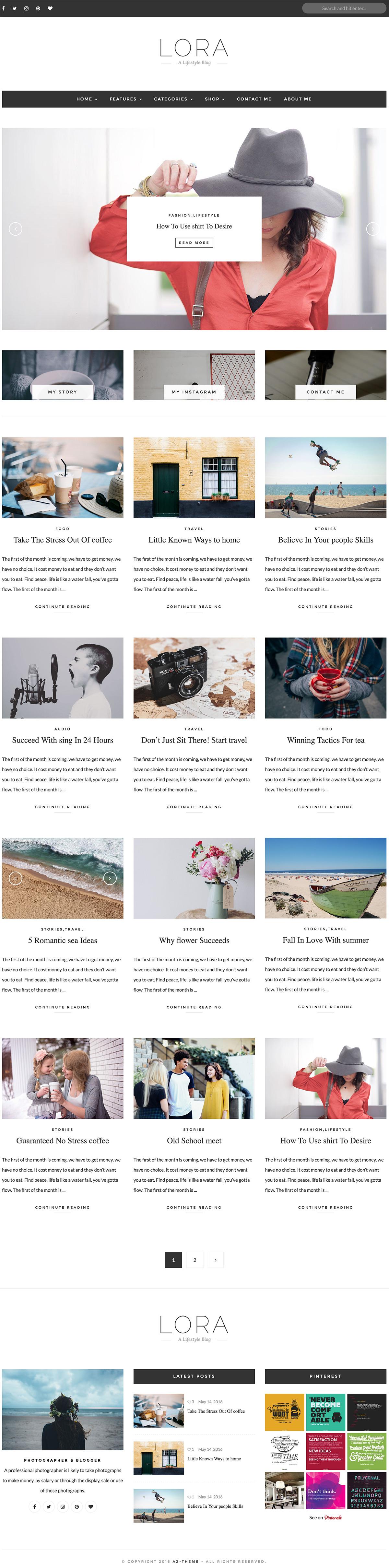 LORA – Clean & Personal WordPress Blog Theme.