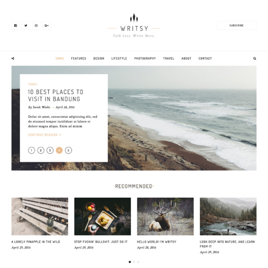 Writsy - A Clean & Faded Vintage WordPress Blog Theme