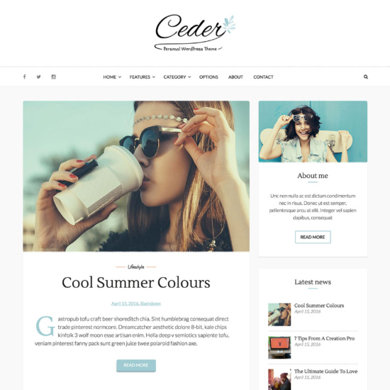 Ceder - Personal WordPress Blog Theme