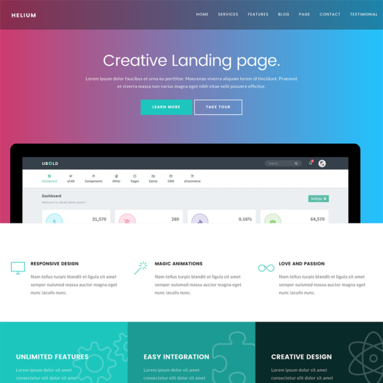 Helium - 10 in 1 Marketing WordPress Theme