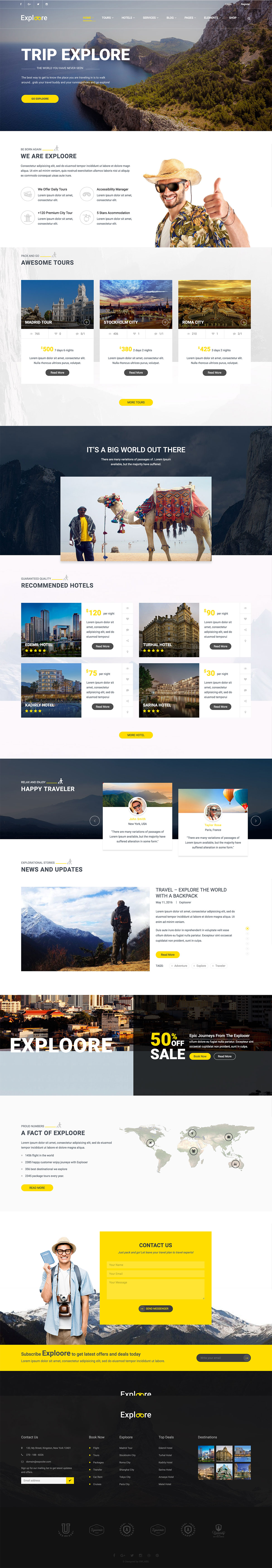 EXPLOORE - Travel, Exploration, Booking WordPress Theme