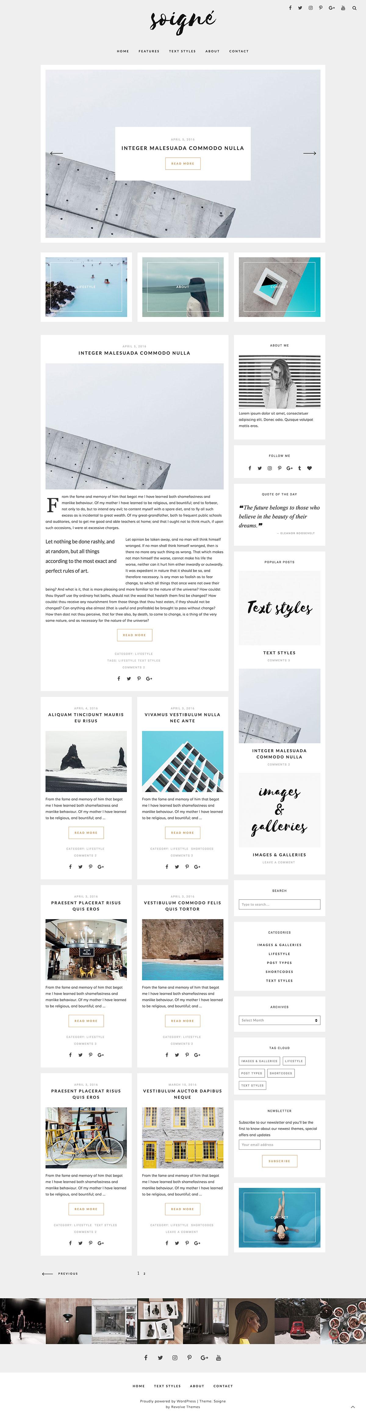 Soigne - A Minimal WordPress Blog Theme