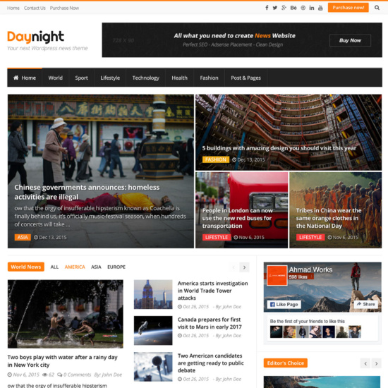 Daynight Magazine - News Magazine Theme