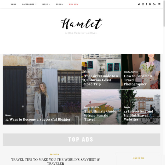 Hamlet - Multi-Concept Blog, Magazine WordPress Theme
