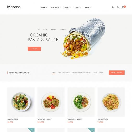 Mazano - Food shop WordPress Theme