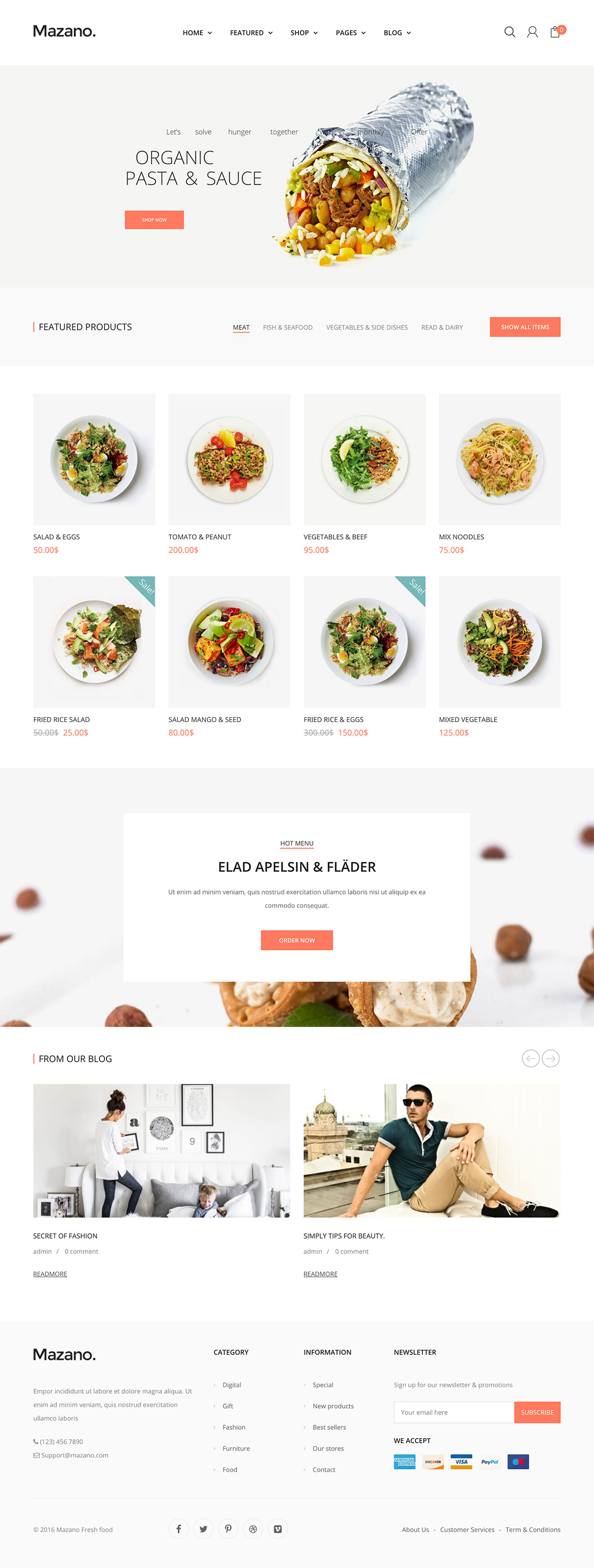 Mazano - Food shop WordPress Theme