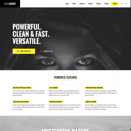 Semishot - Portfolios, Agencies and Photographers WordPress Theme