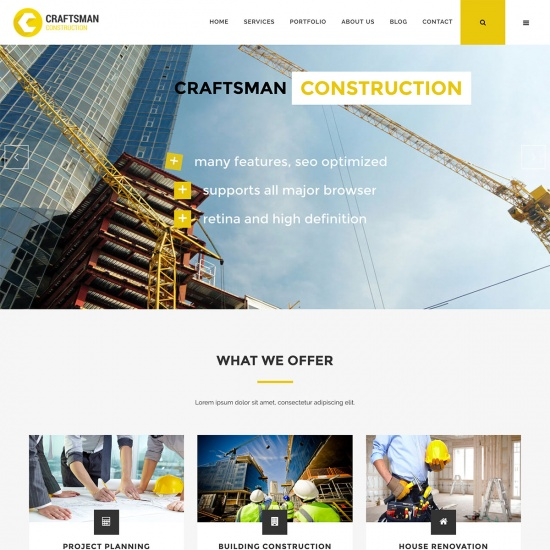 Craftsman Construction WordPress Theme