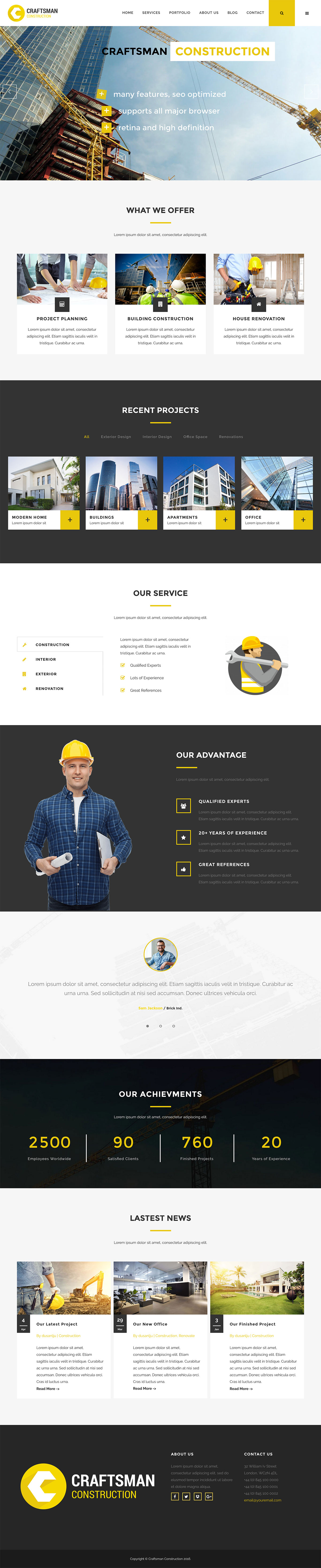 Craftsman Construction WordPress Theme