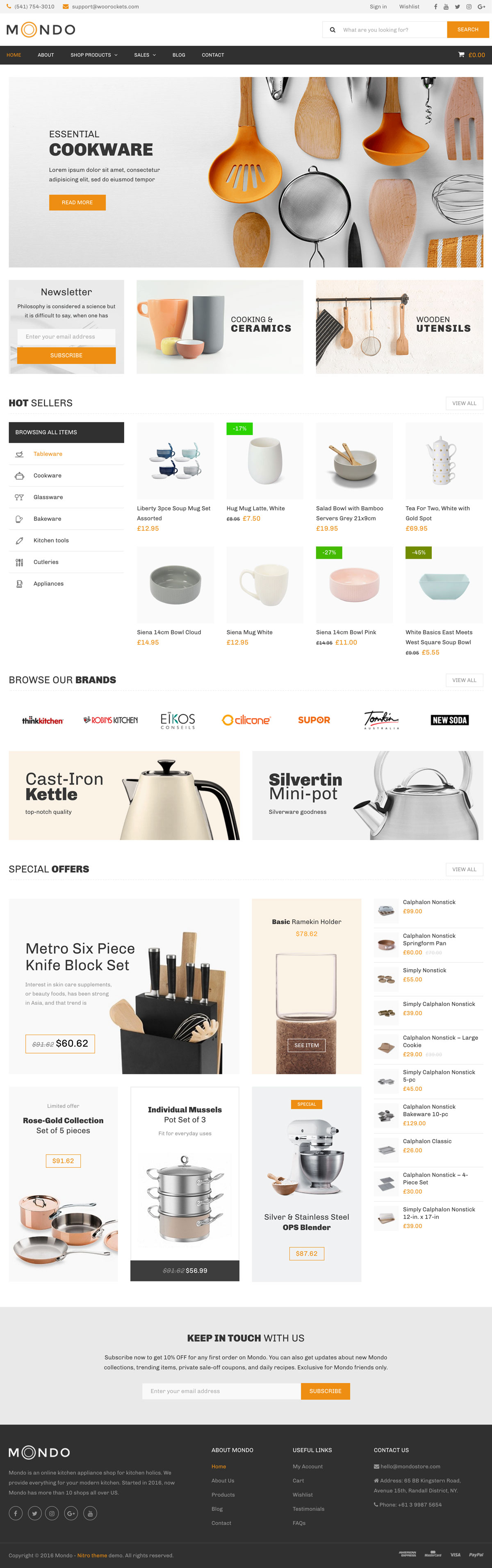 Nitro - Kitchenware store WordPress WooCommerce Theme