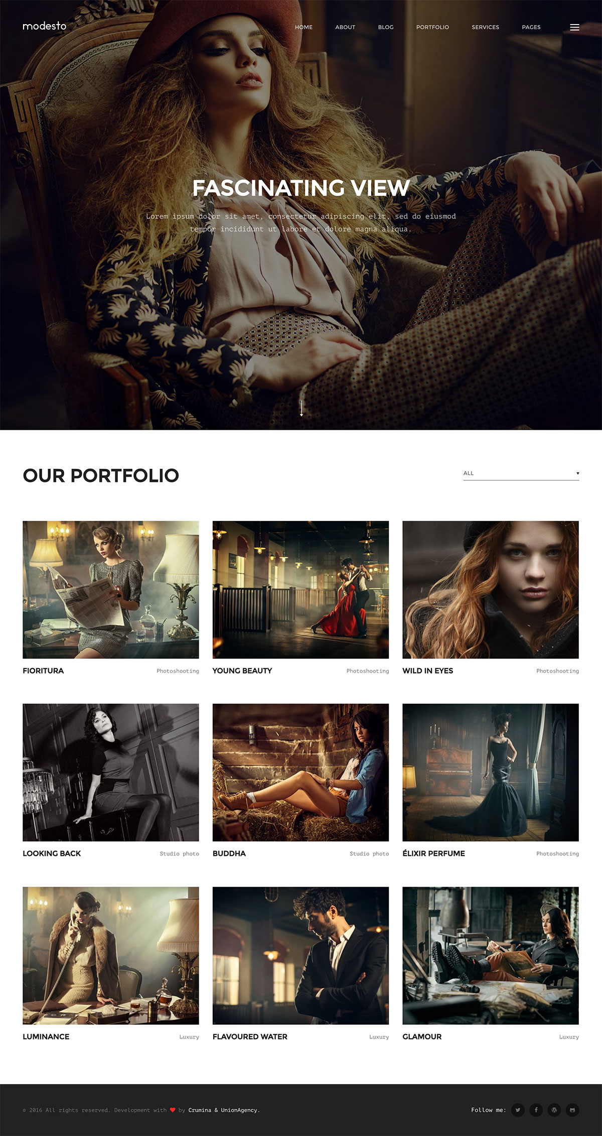 Modesto - Portfolio, Photography, Agency WordPress Theme