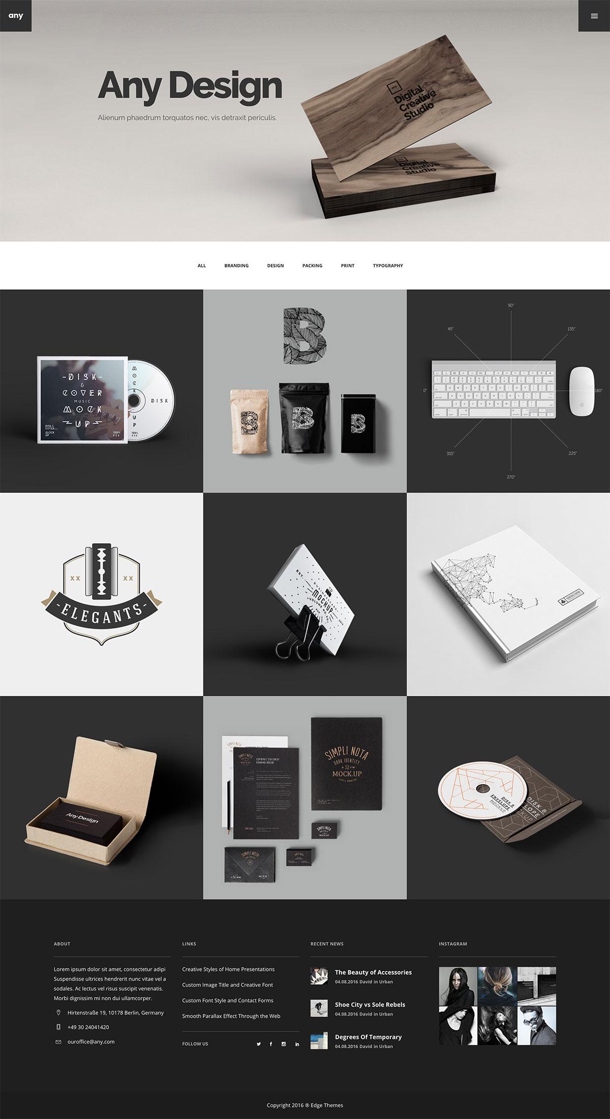 Any - Designer Portfolio WordPressTheme
