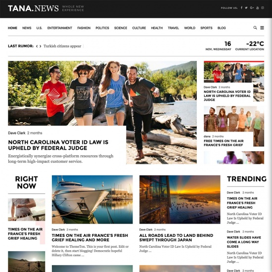 Magazine Tana - Newspaper Magazine WordPress Theme