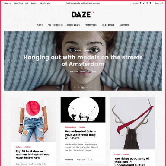 DAZE - A True Wall-Style Masonry WordPress Theme for blogs