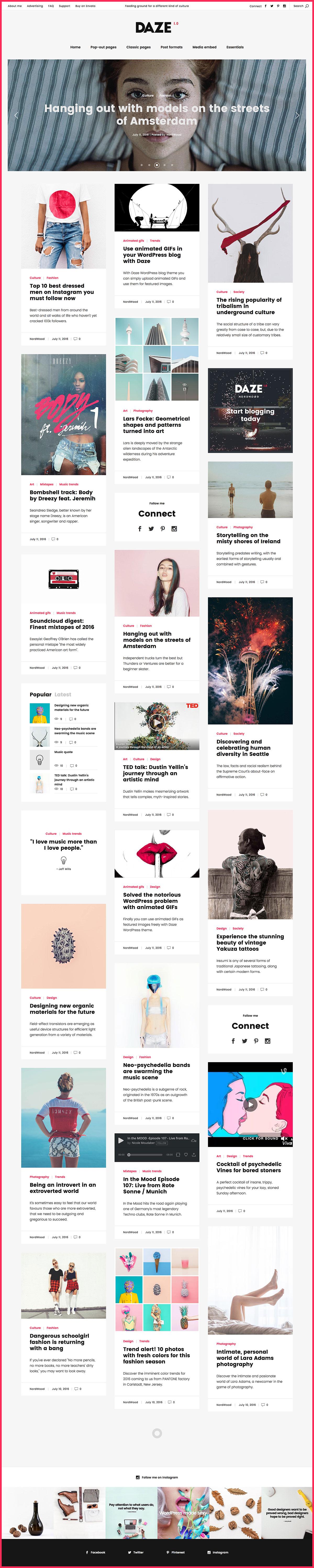 DAZE - A True Wall-Style Masonry WordPress Theme for blogs