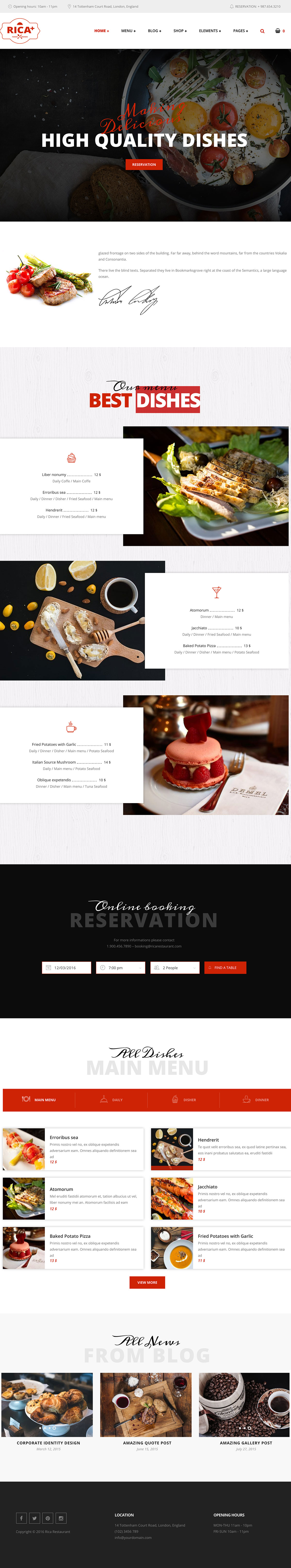 Rica Plus - A Delicious Restaurant, Cafe & Pub WordPress Theme