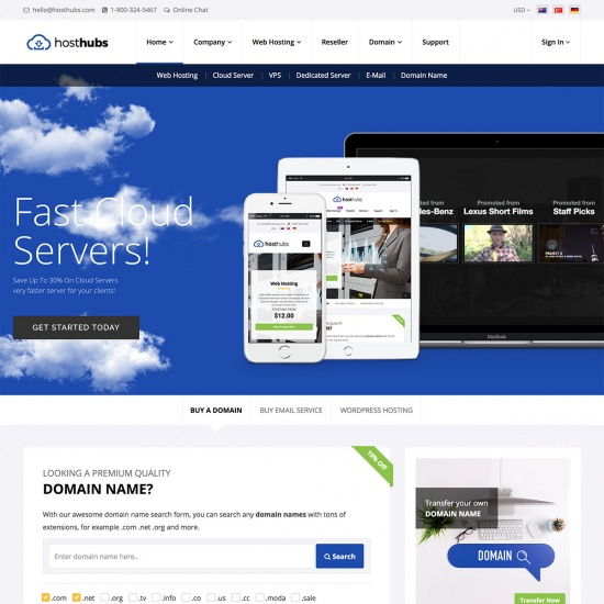 WHMCS Web Hosting WordPress Theme